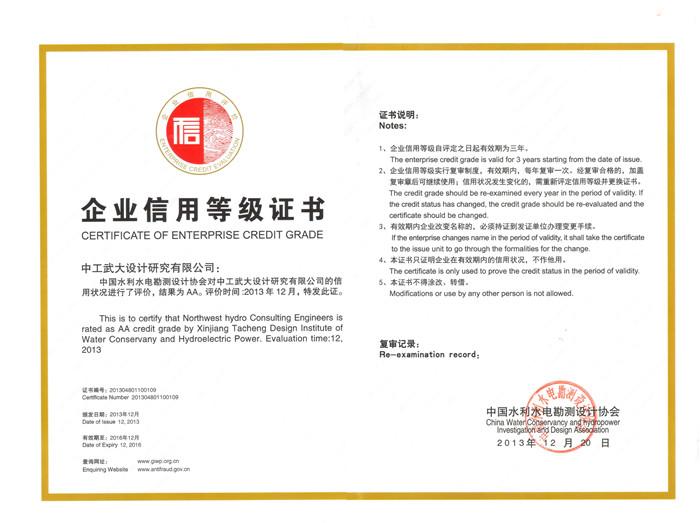 AA级信用企业(中国水电勘测协会)